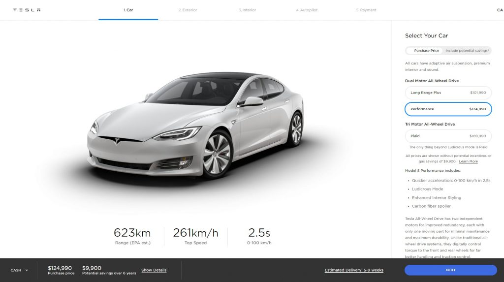 New Performance Tesla Model S range