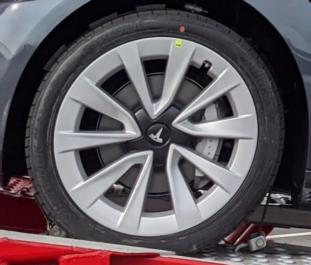 New Tesla Model 3 Sport wheel close up