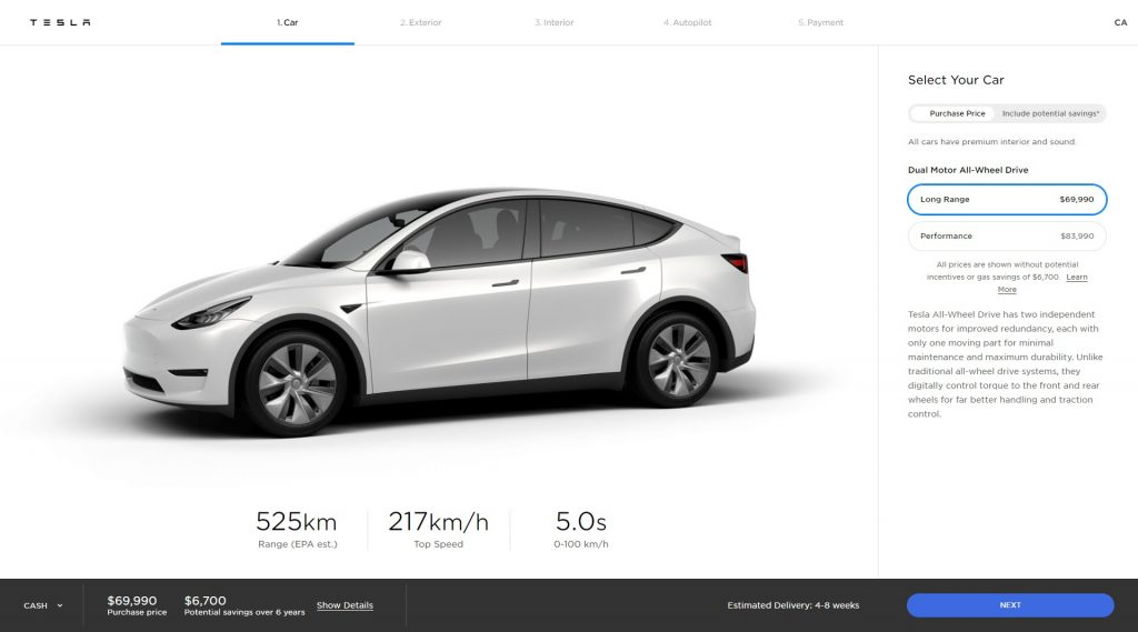 New Tesla Model Y design studio