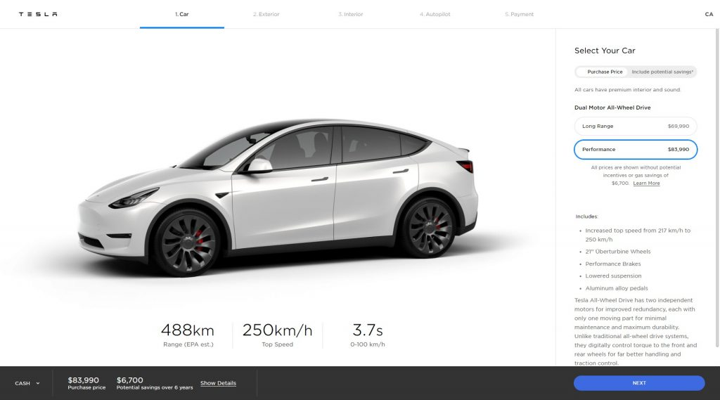 New Tesla Model Y performance range