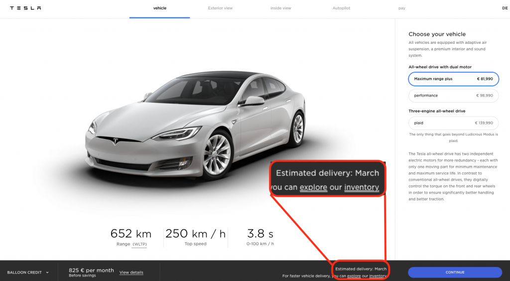 Germany Model S delivery estimate March