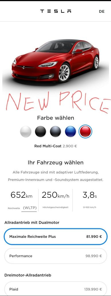 Model S price Germany after