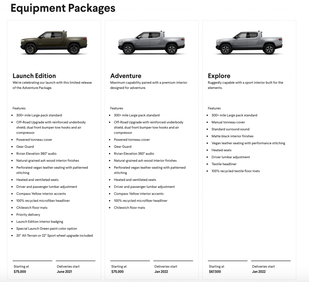 Rivian R1T prices