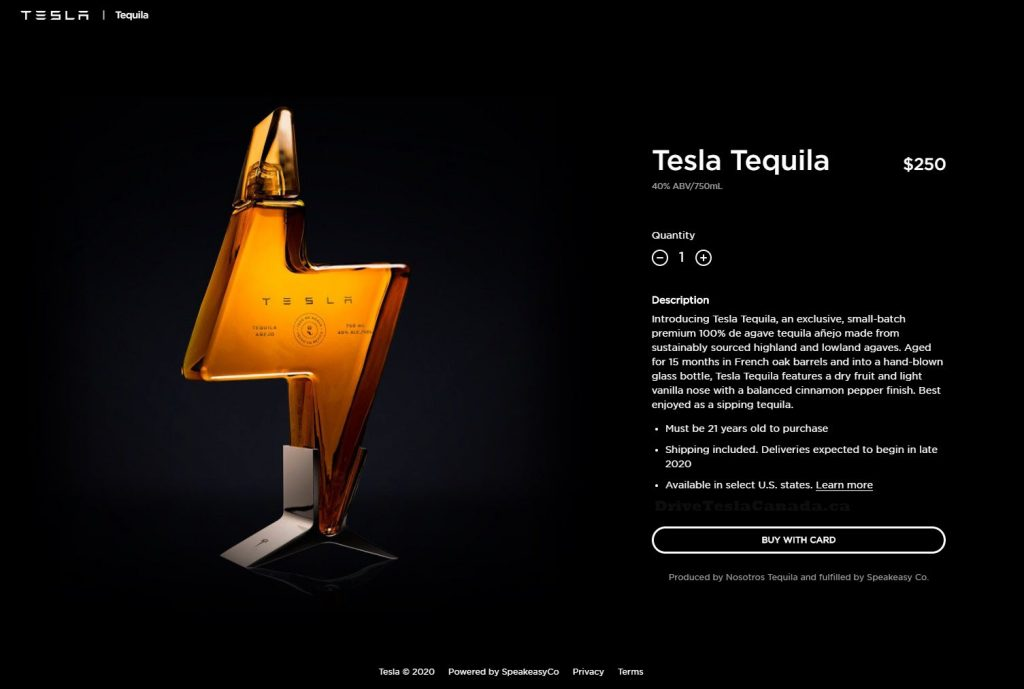 Teslaquila order page