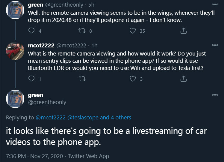 green tweet sentry mode livestream