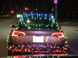 Christmas light Tesla Model 3