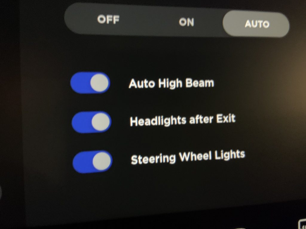 Headlights after exit setting