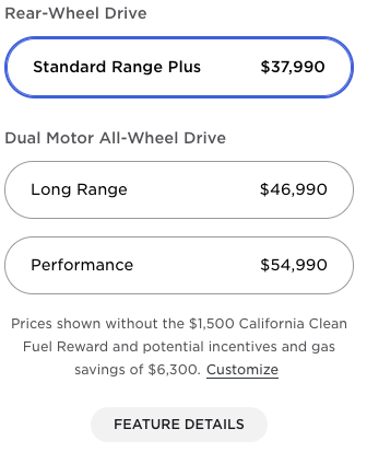 Old Model 3 prices US