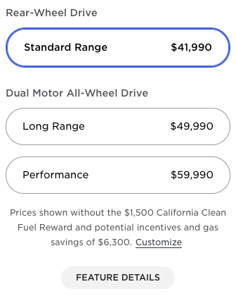 Old Model Y prices US