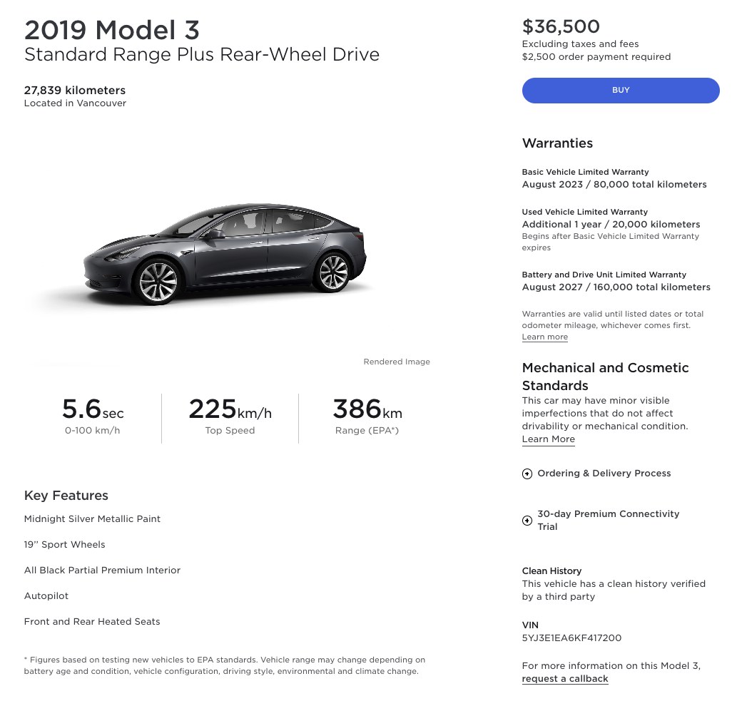 Used Model 3 Vancouver