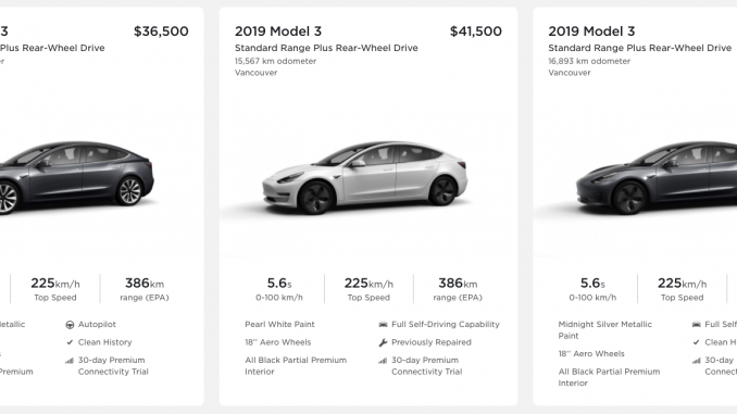 Used Model 3 list Vancouver