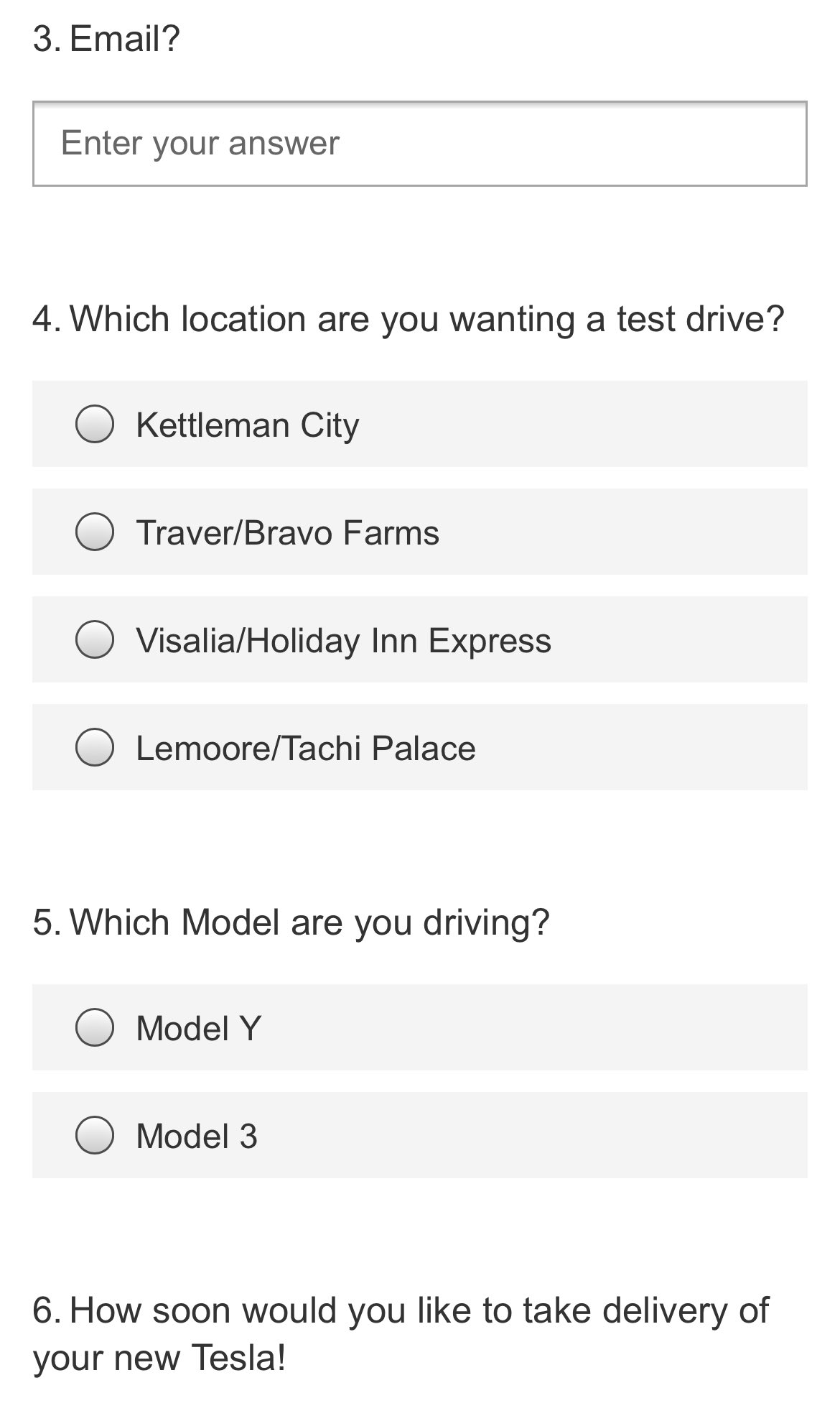 test drive questions