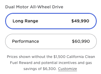 Model Y prices USA