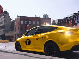 Gravity Tesla yellow taxi