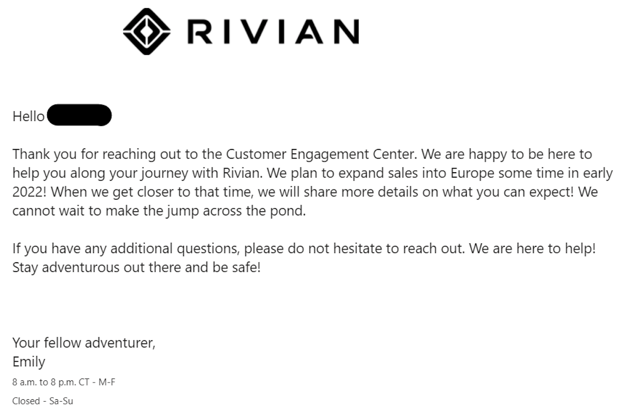 Rivian email