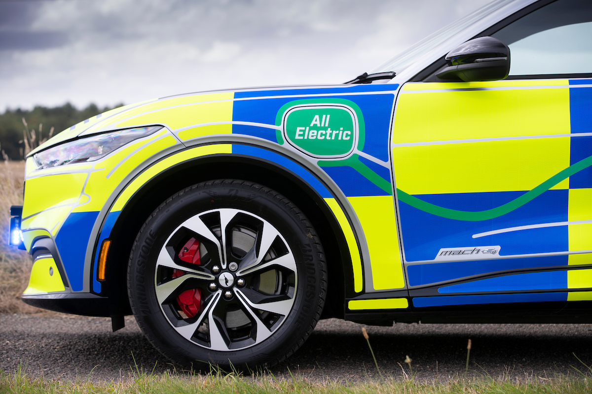 Ford Mustang Mach-E police car at Safeguard SVP, Earls Colne, Es