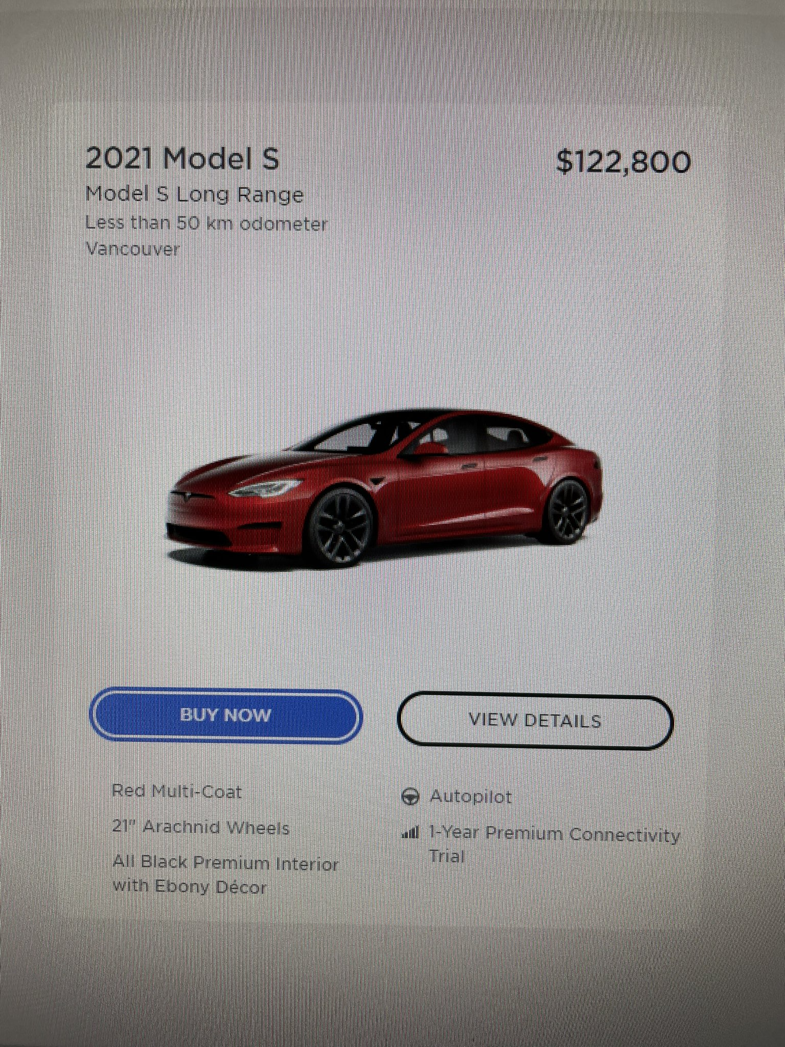 Model S existing inventory Vancouver