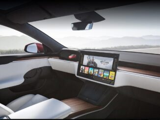 Model S without steering wheel